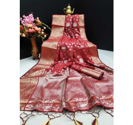 New Eye Catcher Maroon Color Mysore Silk Saree With Silver And Gold Zari Weaves