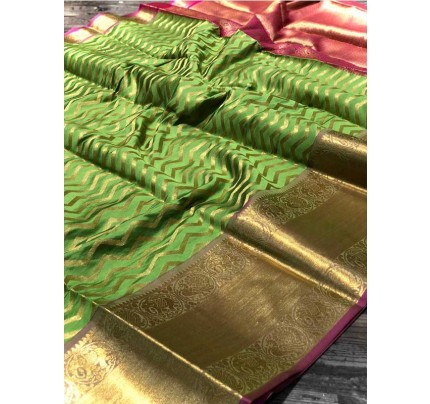 Attractive Look Green Colour  Banarasi Silk With Beautiful Zari  Work Saree