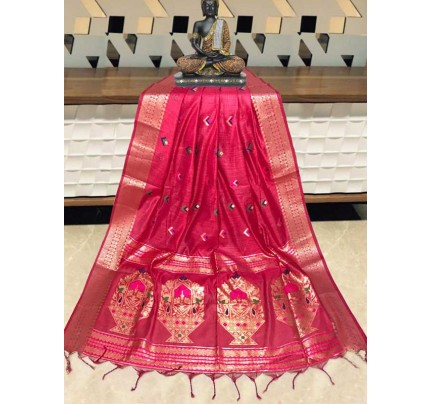 Elegance Look PInk Colour Handloom Cotton Weaving Paithani Saree