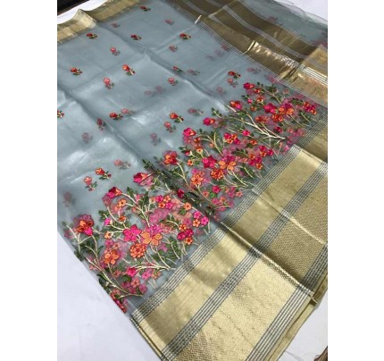 Trending Grey Colored Organza Silk Saree With Kashmiri Embroidery Work With Contrast Lining Pallu