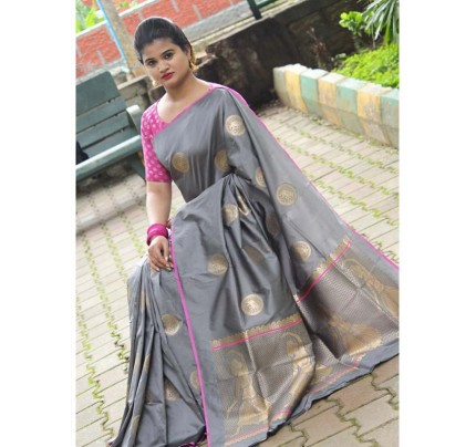 Latest Traditional Look Grey Color Soft Banarasi Silk Rich Pallu With Checks And Peacock Butta And Full Saree Peacock Butta Saree