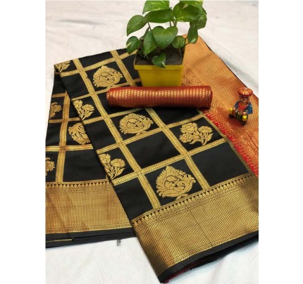 Pretty Look Black Color Banarasi Silk Fabric with Zari work Kanchipuram Saree