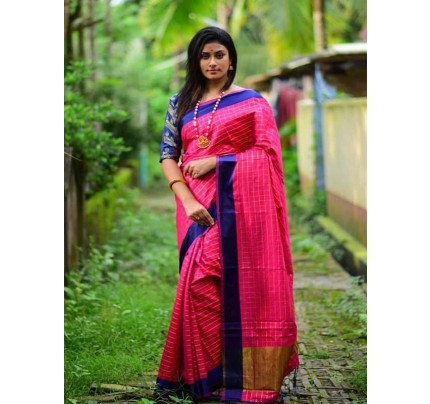 Elegance Look Pink Colour Handloom Silk Weaving Saree