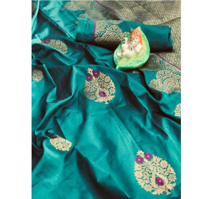 Stunning Look Cyan Colour Soft Banarasi silk weaving saree with pure zari woven pallu