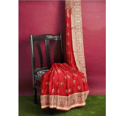 Red Colored Beautiful Pure Weaving Silk Meenakari Design Saree