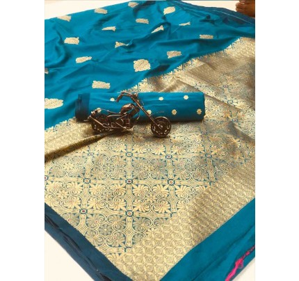 Stunning Look SkyBlue Colour Soft Banarasi silk weaving saree