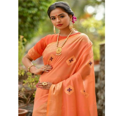 Elegance Look Orange   Colour Handloom Cotton Weaving Woven Patola Pallu Saree