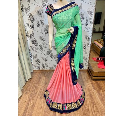 Latest Traditional Look Multi Color Silk With Embroidery And Crystal Stone Work Saree