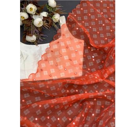 Classic Look Pure soft Organza saree with Beautiful bandhani butti Print Saree