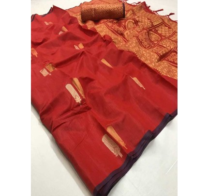 Stunning Red Color Soft Linen Silk Fabric weaving Saree