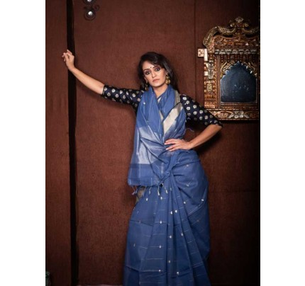 Stunning Blue Color Linen Silk Saree With Silver Zari Checks