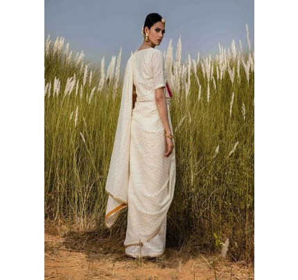 New Eye Catcher White Color Silk Zari Lace Border Saree
