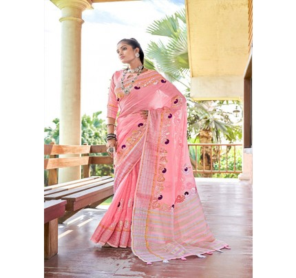 Stunning Pink Color Soft linen with Beautiful Gotapatti Border Saree