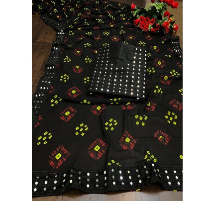 Designer Look Black Georgette Bandhani Saree with border work