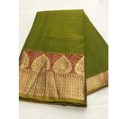 Stunning Look Green Color Dola Dodiya Cotton Silk Saree
