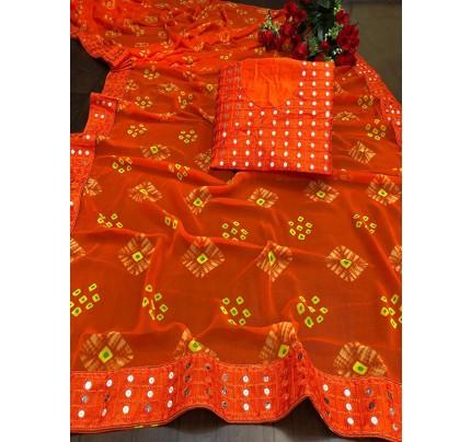 Designer Look Orange Georgette Bandhani Saree with border work