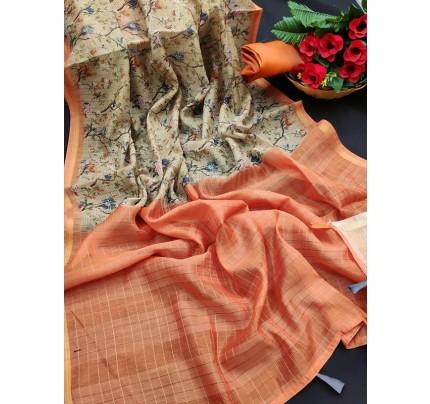 Pretty Look Pure Soft Silk Checks Saree