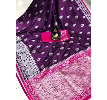 Pretty Look Purple Color Banarasi Silk Weaving With Beautiful Running Blouse