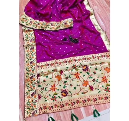 Function wear Purple color Pure Kanchipuram Silk Saree