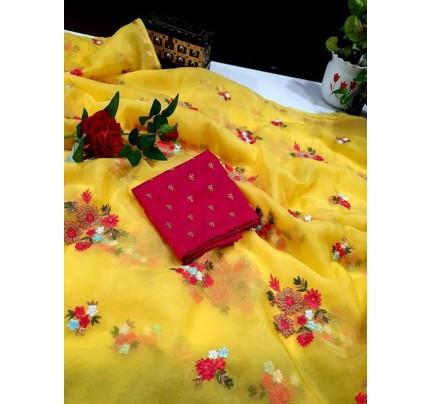 Latest soft Organza Saree with allover thread butta work