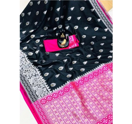 Pretty Look Black Color Banarasi Silk Weaving With Beautiful Running Blouse