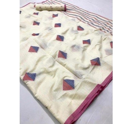 New Trending Cream Color Linen Cotton Silk Printed Saree