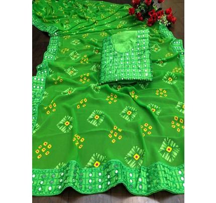 Designer Look Green Georgette Bandhani Saree with border work