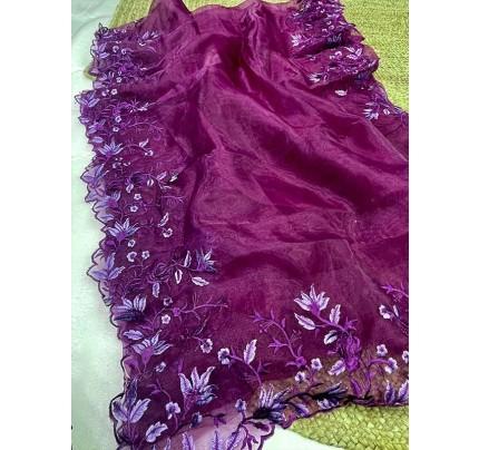 Unique Style Organza Silk Saree with embroidery work & Sattin Blouse