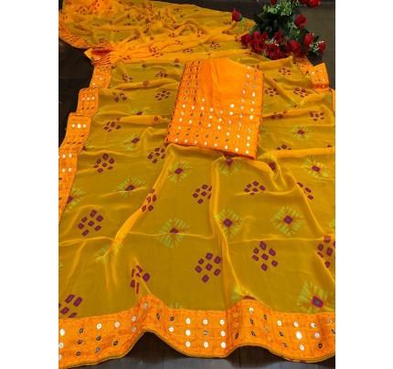 Designer Look Yellow Georgette Bandhani Saree with border work