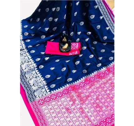 Pretty Look Blue Color Banarasi Silk Weaving With Beautiful Running Blouse