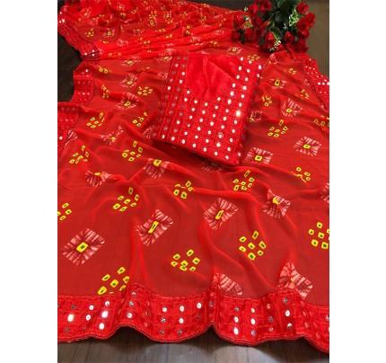 Designer Look Red Georgette Bandhani Saree with border work