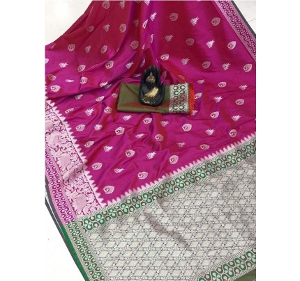 Pretty Look Multi Color Banarasi Silk Weaving With Beautiful Running Blouse