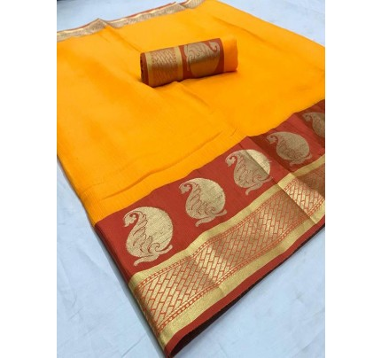 Stunning Look Yellow Color Dola Dodiya Cotton Silk Saree