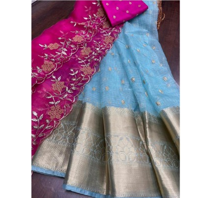 Eye-Catching Look Pure weaving border Organza lehanga with Sequencing embroidery border