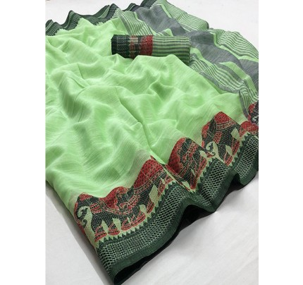 Eye-Catching Look Green color Soft Linen Silk Saree with Beautiful Hathi Border