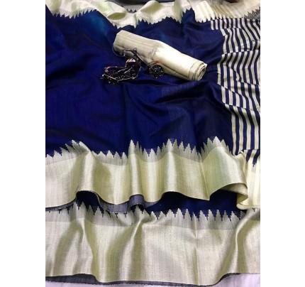 Plain Style Blue Raw Silk Saree with Lining Pallu