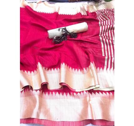Plain Style Pink Raw Silk Saree with Lining Pallu