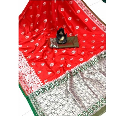 Pretty Look Red Color Banarasi Silk Weaving With Beautiful Running Blouse