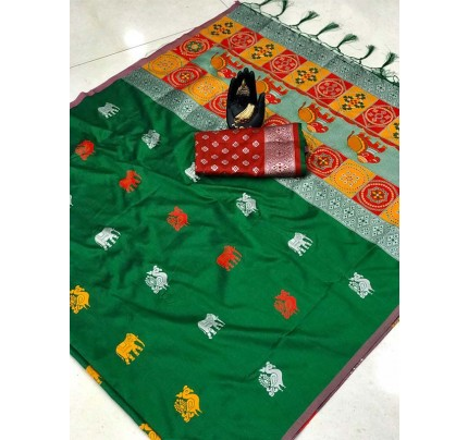 Attractive Look Green Color Lichi Silk Saree with Weaving Silver Zari