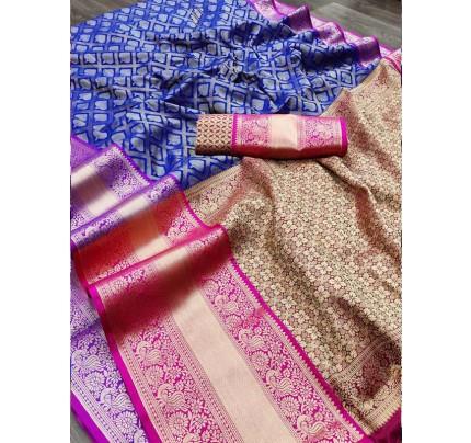 Wedding Wear Kanchipuram Handloom Silk Saree with Rich Zari Wooven Border