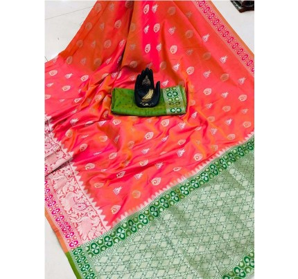 Pretty Look Peach Color Banarasi Silk Weaving With Beautiful Running Blouse