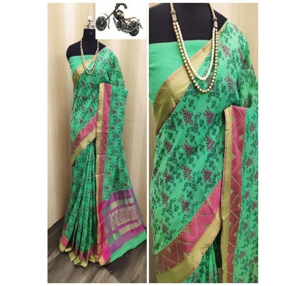 Festival Look Multi color Soft Cotton Silk With Tebal Print Exclusive Saree