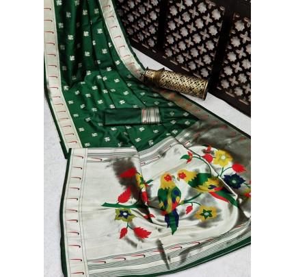 Gorgeous Look Banarasi Soft Silk Paithani Saree with exclusive Zari Pallu