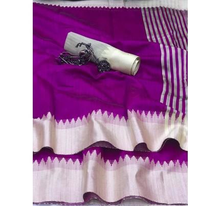 Plain Style Purple Raw Silk Saree with Lining Pallu