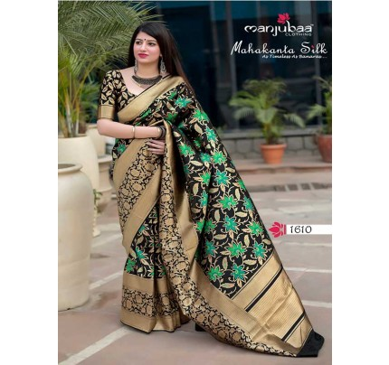 Latest Traditional Look Black Color Pure Jamdani Silk with Minakari Weaving Saree