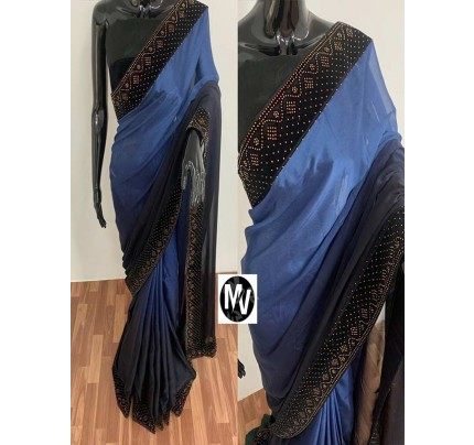 Wedding Season Blue color Rangoli Silk Fabric with machine stone diamond work Saree
