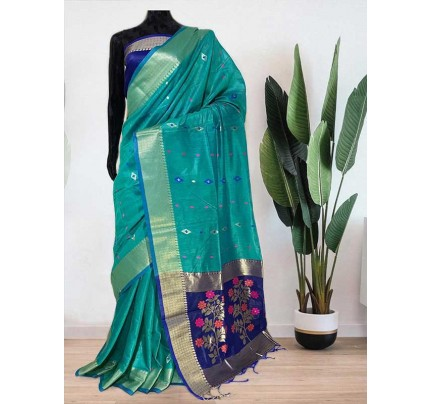 Beautiful Cyan Soft Handloom Cotton Weaving Saree With Meenakari Butti And Contrast  Woven Pallu Saree