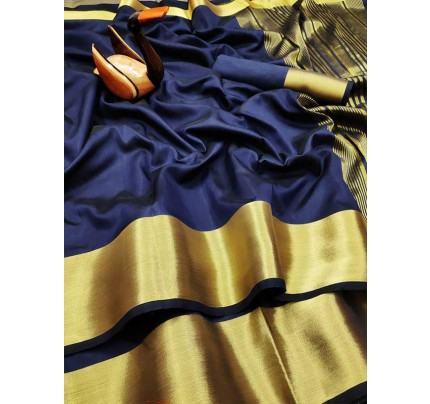 Latest Traditional Look Blue Color Dola Silk Saree With Golden Weaving Border And Weaving Pallu