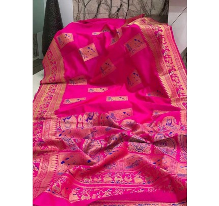 Stunning Look Pink Colour Soft Banarasi Silk Zari Rich Saree