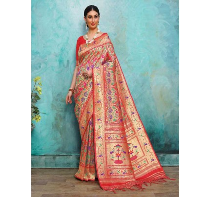Wedding Designer Red Color Pure Silk weaving Saree